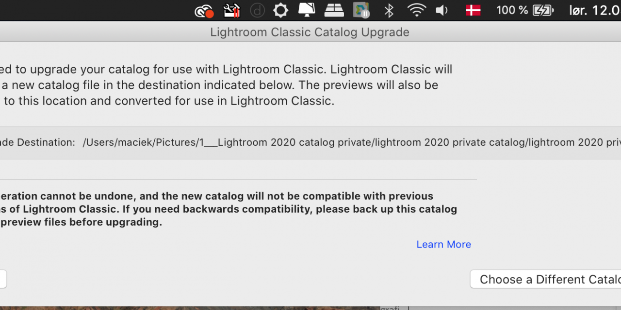 Lightroom upgrade from 8.4.1 to 9.2 (only one-way)