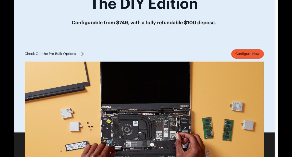 Framework bærbar computer DIY